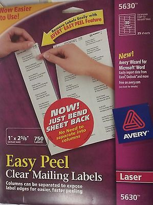 Avery Laser Easy Peel Clear Mailing Labels  #5630