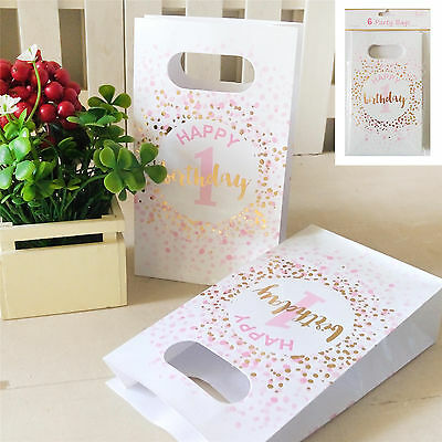 6Pk 1St Birthday Party Bags Pink Gold Girls Gift Loot Lolly Candy White Favour
