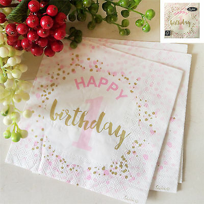 16Pk 33X33Cm 1St Birthday Lunch Napkin Pink Party Gold White Confetti Girls