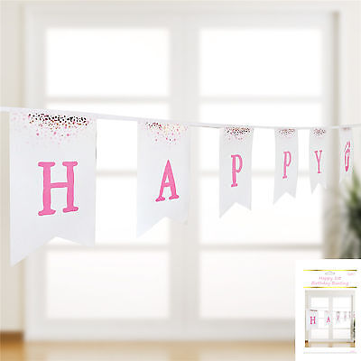 1St Birthday Bunting Pink  Gold White  Banner Girls Party Flag 3.6m Hanging