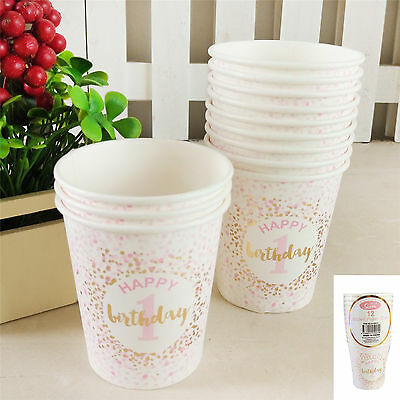 12Pk 200Ml 1St Birthday Paper Cups Pink  Gold White Confetti Party Girls