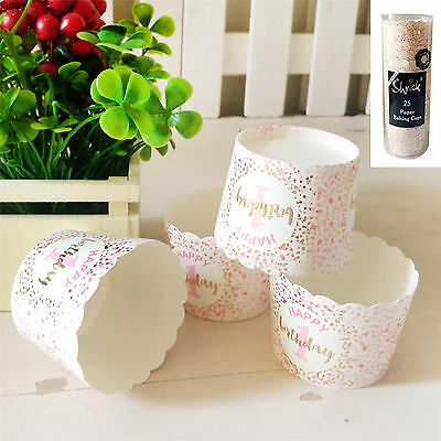 25Pk 1st Birthday Paper Baking Cups Pink Gold White Party Girls Muffin Cupcake
