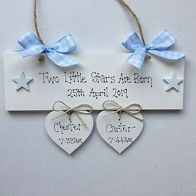 Personalised Twins Plaque Newborn Baby Gift Sign Keepsake Baby Shower Present