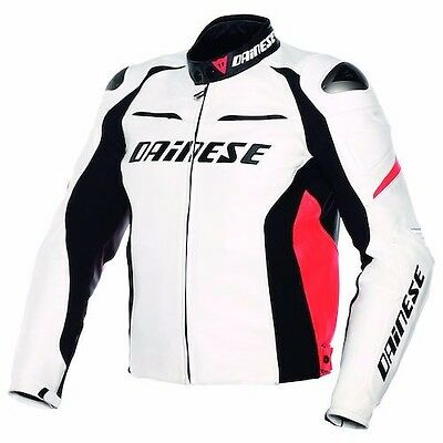 Dainese G. Racing D1 White Black Red leather Motorcycle jacket, NEW!