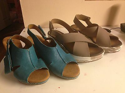 Two Pairs of Women's Clarks Blue Turquoise and Tan Wedge Sandals Size 8