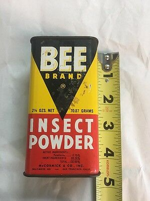 VINTAGE BEE BRAND INSECT POWDER CAN McCORMICK & CO