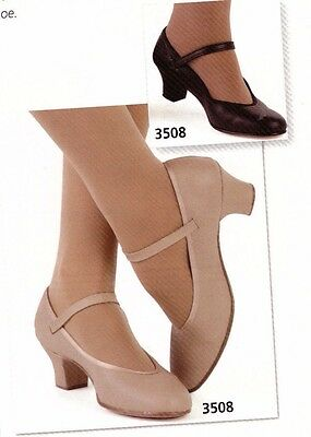 "Character Shoes ch/ladies Tan  #3508 dance 1.5""heel leather sole RUNS SMALL"