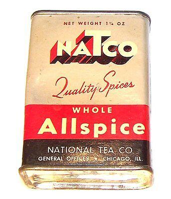Vintage Natco National Tea Food Store Keywind All spice Tin Chicago Can MkOffer