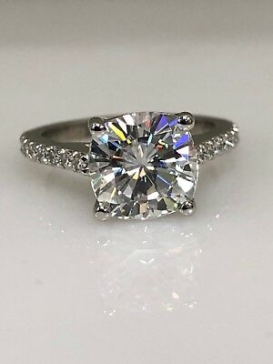 Engagement & Wedding 2.92 Carat Round Cut Halo Diamond Engagement Ring Vs2/f White Gold 18k Fine Jewelry