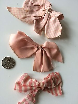 Vintage Dolls Bow Pink Ribbon Shabby Salvage Trim Trims Hats Hair Prim Flowers