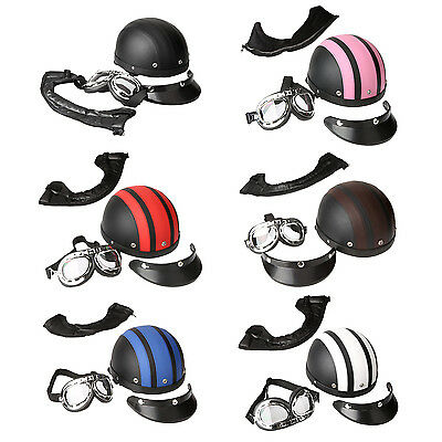 40-60cm Leather Motorcycle Goggles Half Helmets Cruiser Scooter Helmet O9Z7