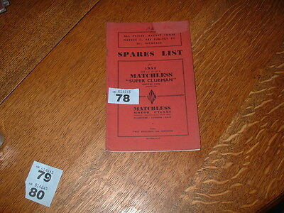 GENUINE MATCHLESS SUPER CLUBMAN G9 ILLUSTRATED SPARE PARTS LIST. 1952. 500cc