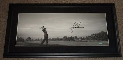 Tiger Woods Autographed B&W Panoramic 19x37 Matted & Framed Golf Photo-UDA