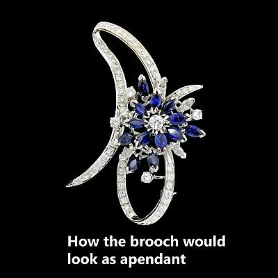 Vtg Large 14k White Gold Diamond Sapphire Pin Brooch Exquisite Estate 3.3 TCW