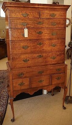 Antique American Queen Anne Tiger Maple Highboy