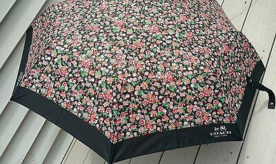 New Coach Full Size  Automatic Posey Cluster Black Floral Umbrella F58137