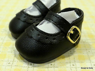 """BLACK Scalloped Heart-Cut Mary Jane DOLL SHOES fits 18"""" AMERICAN GIRL DOLL"""