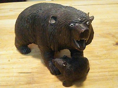 antique black forest carved wood wooden bear with teeth, glass eyes