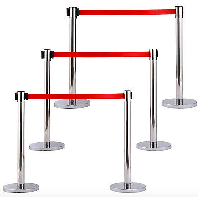 Crowd Control Barrier Stanchions Red Ropes Pole Retractable Barricade 3-Set