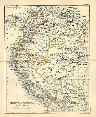 """1890 small map of """" south america section 1 """" by john bartholomew 1890"""