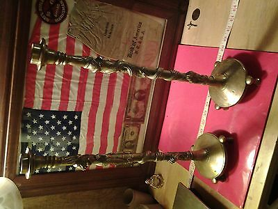 Antique Chinese Asian Bronze Brass Candle holders Dragons,