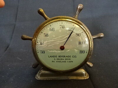 Old Vtg Nautical Landis Beverage Co. Ship Wheel Thermometer Made In USA