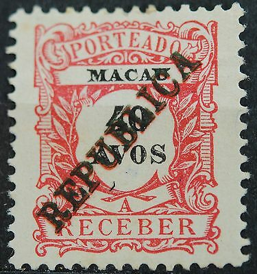 Macau Stamps SC#J20 MINT Postage Due with RARE DOUBLE OPT