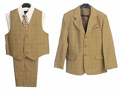 Boys suits Formal Dress Camel Plaid Toddler Kids Graduation Wedding Vest Suit S