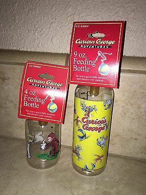 Lot of 2 Curious George Baby Bottles Latex Nipples 4oz & 9oz NEW