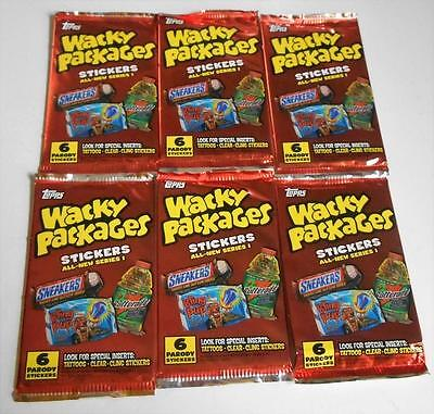 6 Packs 2004 Topps Wack Packages Series 1 Stickers, 6 stickers per pack