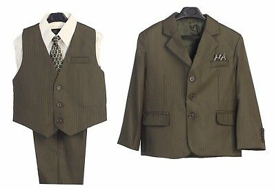 Boys suit Formal Dress Olive Brown Toddler Kids Graduation Wedding Vest Suit New