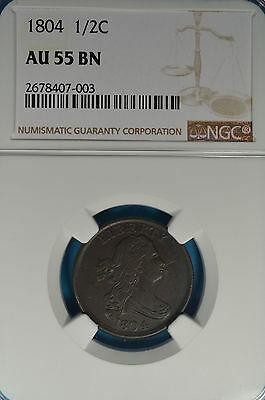 1804 Draped Bust Half Cent NGC AU55BN- Nice Details, Early Copper