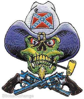 Rebel Skull Embroidered Patch Low Brow Art Pizz PZP12