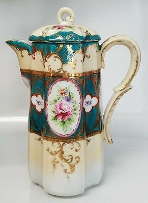 Antique German Hand Painted Chocolate Pot