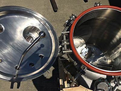 Letsch 188 liter stainless vacuum pressure jacketed mixing tank reactor vessel
