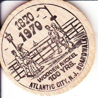 1970 100th Anniversary Atlantic City Boardwalk Wooden Nickel