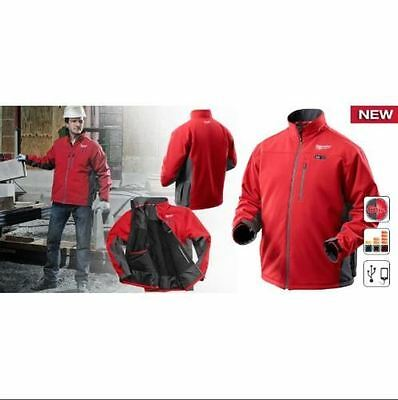 Milwaukee Heated Jacket Red XXL  1.5Ah Battery Pocket MP3 12V FREE DELIVERY
