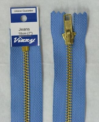 VIZZY JEANS ZIP 18cm 65 LIGHT DENIM, A Quality Brand Name Zipper