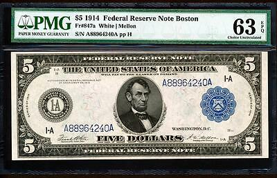 Fr.847A 1914 $5 BOSTON FRN + PMG CHOICE NEW UNCIRCULATED 63EPQ A88964240A RARE!