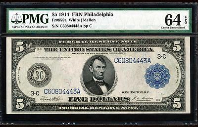 Fr.855A 1914 $5 PHILADELPHIA FRN + PMG CHOICE NEW UNCIRCULATED 64EPQ C60804443A
