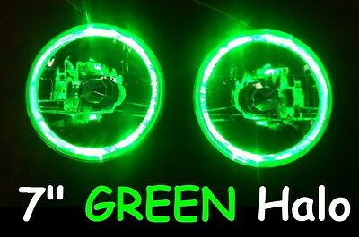 "GREEN 7"" Round LED H4 Semi Sealed Headlights Cadillac Allante Calais Brougham"