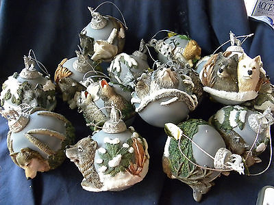 Huge Lot of 15 The Bradford Editions Wolf Glass Ornament Collections - EUC
