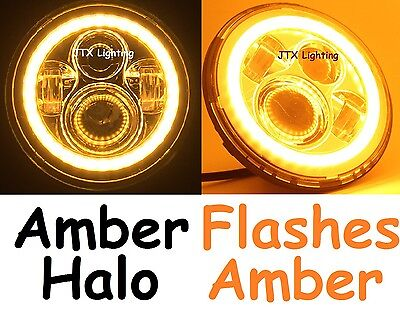 "1pr 7"" Headlights AMBER Halo Flash AMBER on turning Cadillac Allante Brougham"