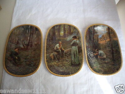 The Pioneer Triptych Frederick Mccubbin Bradex Windsor Fine China 3 Plate Set