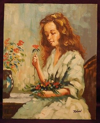 Vintage Painting Girl with Flowers Signed Roland Oil on Board Mid-Century