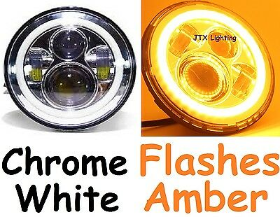 "1pr 7"" CHROME LED Headlights White Halo flash AMBER on turning Cadillac Calais"
