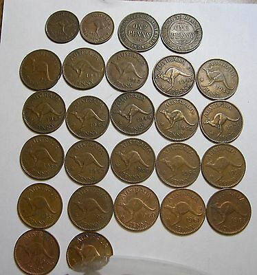 Australia Penny and Half penny collection set 1924 - 1964. All different dates.