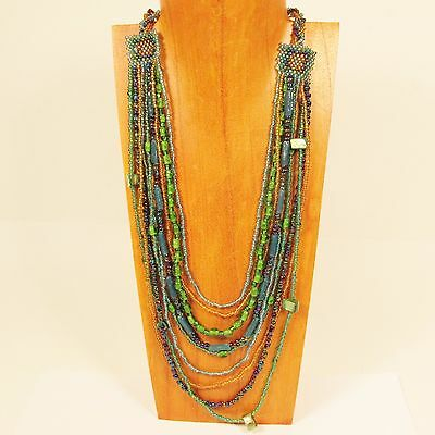5PC Handmade Beaded Waterfall Multi Strand Necklaces WHOLESALE LOT 5 Colors