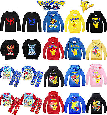 Pokemon Go Pikachu Kids Boy Girl Clothes T-Shirts Sweatshirt Hoodies Top Outfits