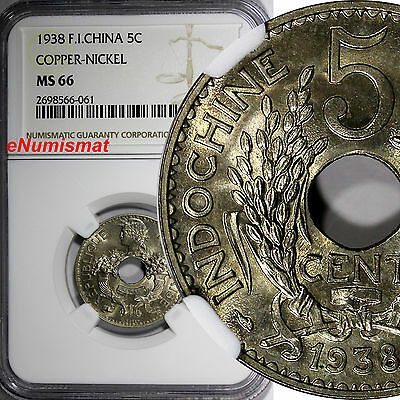 French Indo-China Copper-Nickel 1938 5 Cents NGC MS66 KEY DATE GEM BU KM# 18
